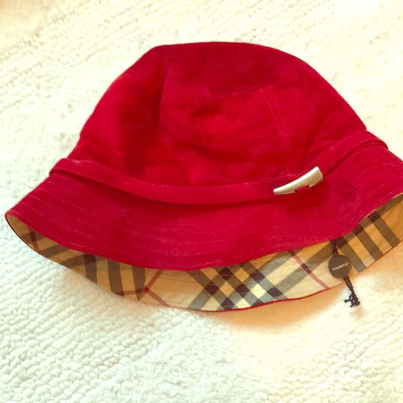65640332552 Burberry Accessories - Burberry plaid and red suede leather hat